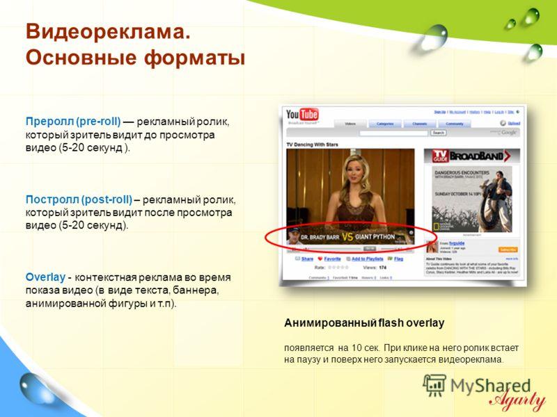 Видеореклама. Основные форматы Преролл (pre-roll) рекламный ролик, который зритель видит до просмотра видео (5-20 секунд ). Постролл (post-roll) – рекламный ролик, который зритель видит после просмотра видео (5-20 секунд). Overlay - контекстная рекла