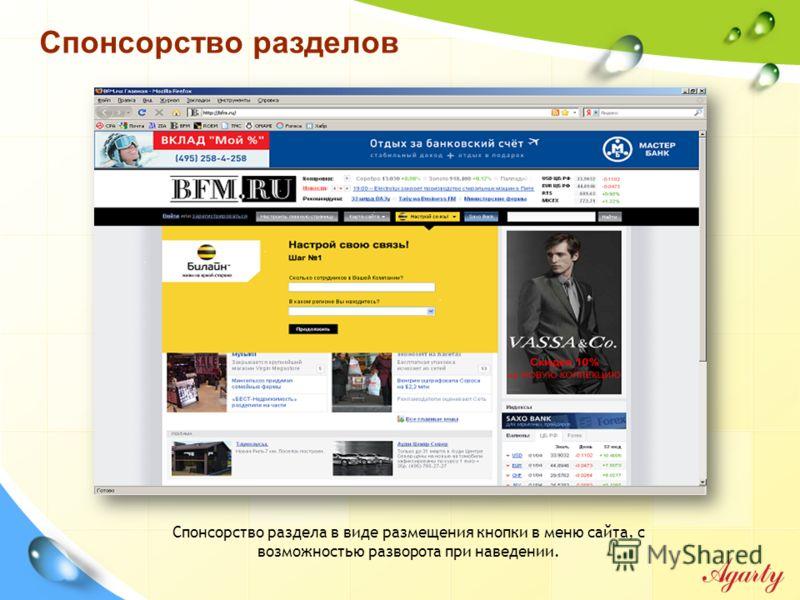 Спонсорство раздела в виде размещения кнопки в меню сайта, с возможностью разворота при наведении. Спонсорство разделов