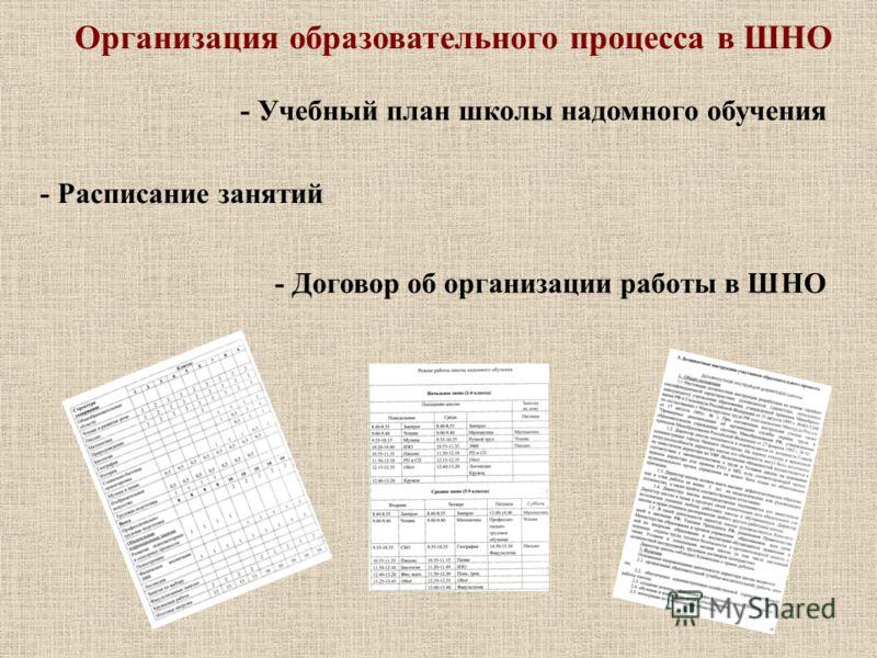Организация образовательного процесса в ШНО - Учебный план школы надомного обучения - Расписание занятий - Договор об организации работы в ШНО