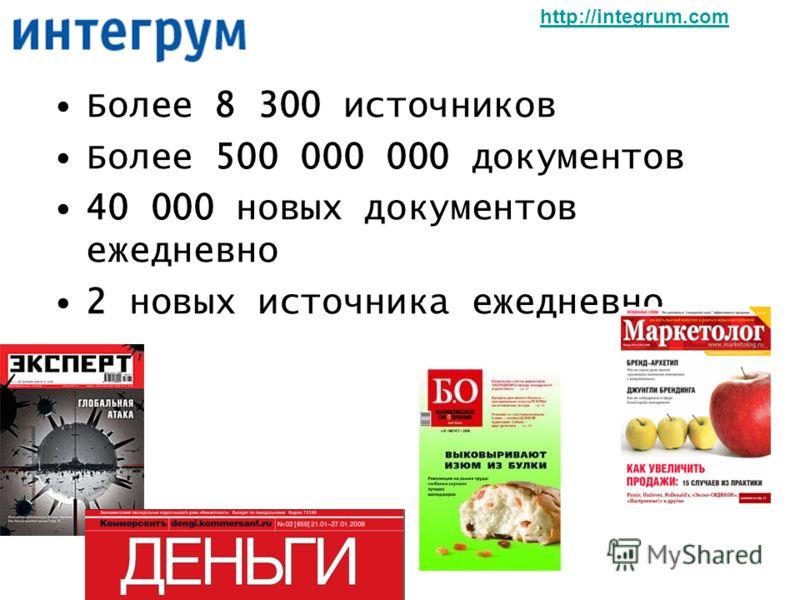 Более 8 300 источников Более 500 000 000 документов 40 000 новых документов ежедневно 2 новых источника ежедневно http://integrum.com