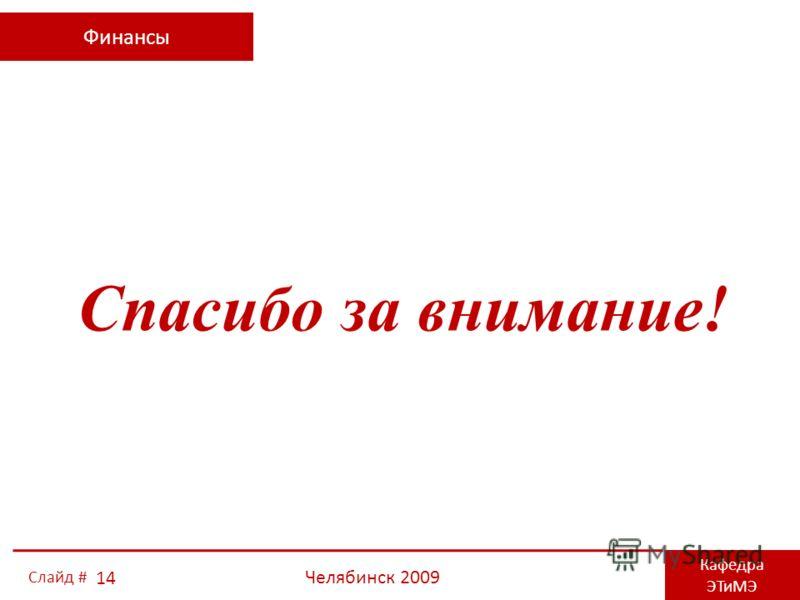 Финансы Кафедра ЭТиМЭ Челябинск 2009 14 Слайд # Спасибо за внимание!