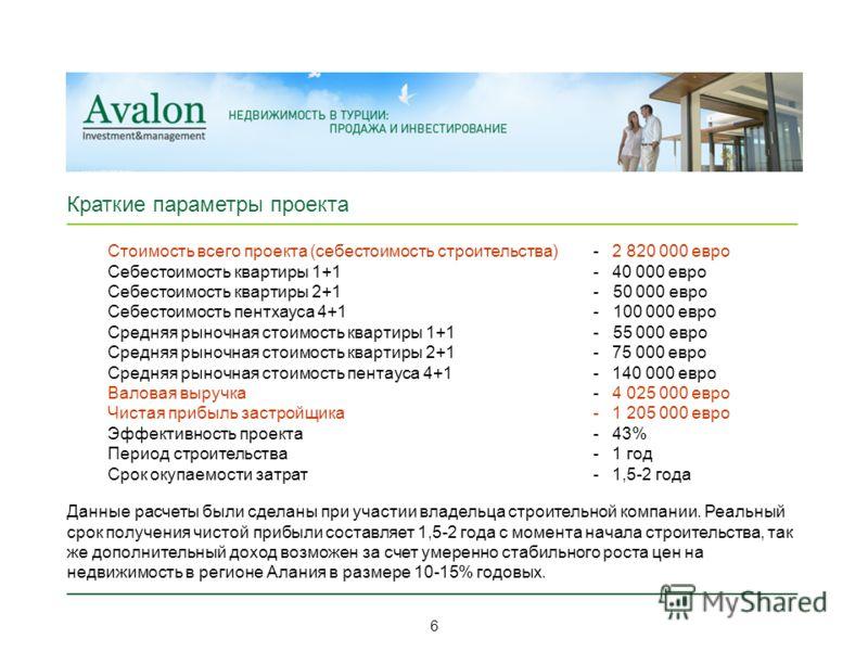 _____________________________________________________________ Краткие параметры проекта Стоимость всего проекта (себестоимость строительства) Себестоимость квартиры 1+1 Себестоимость квартиры 2+1 Себестоимость пентхауса 4+1 Средняя рыночная стоимость