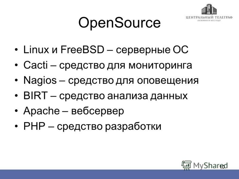 10 OpenSource Linux и FreeBSD – серверные ОС Cacti – средство для мониторинга Nagios – средство для оповещения BIRT – средство анализа данных Apache – вебсервер PHP – средство разработки