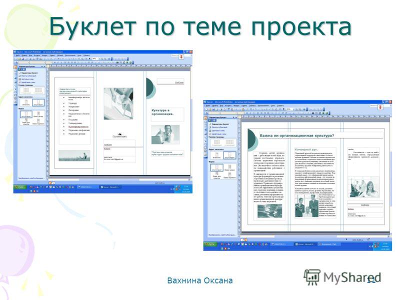 Вахнина Оксана 11 Буклет по теме проекта