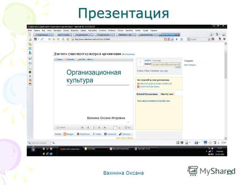 Вахнина Оксана 13 Презентация