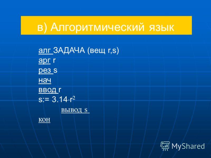 в) Алгоритмический язык алг ЗАДАЧА (вещ r,s) арг r рез s нач ввод r s:= 3.14 r 2 вывод s кон