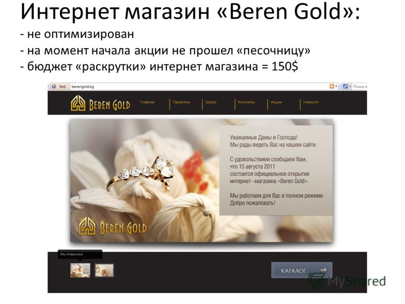 Интернет магазин «Beren Gold»: - не оптимизирован - на момент начала акции не прошел «песочницу» - бюджет «раскрутки» интернет магазина = 150$