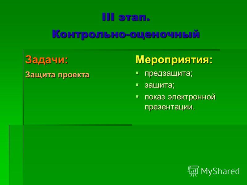 III этап. Контрольно-оценочный Задачи: Защита проекта Мероприятия: предзащита; предзащита; защита; защита; показ электронной презентации. показ электронной презентации.