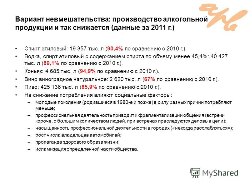 Вариант невмешательства: производство алкогольной продукции и так снижается (данные за 2011 г.) Спирт этиловый: 19 357 тыс. л (90,4% по сравнению с 2010 г.). Водка, спирт этиловый с содержанием спирта по объему менее 45,4%: 40 427 тыс. л (89,1% по ср