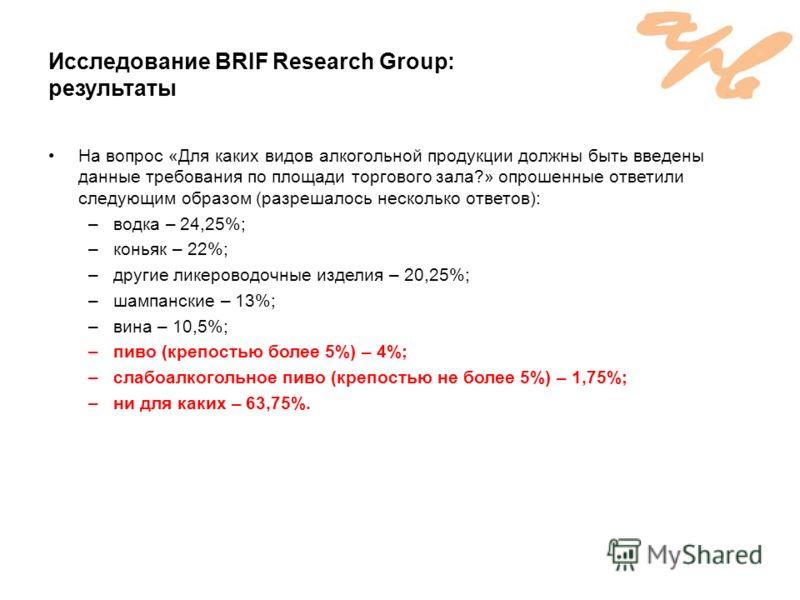 Исследование BRIF Research Group: результаты На вопрос «Для каких видов алкогольной продукции должны быть введены данные требования по площади торгового зала?» опрошенные ответили следующим образом (разрешалось несколько ответов): –водка – 24,25%; –к