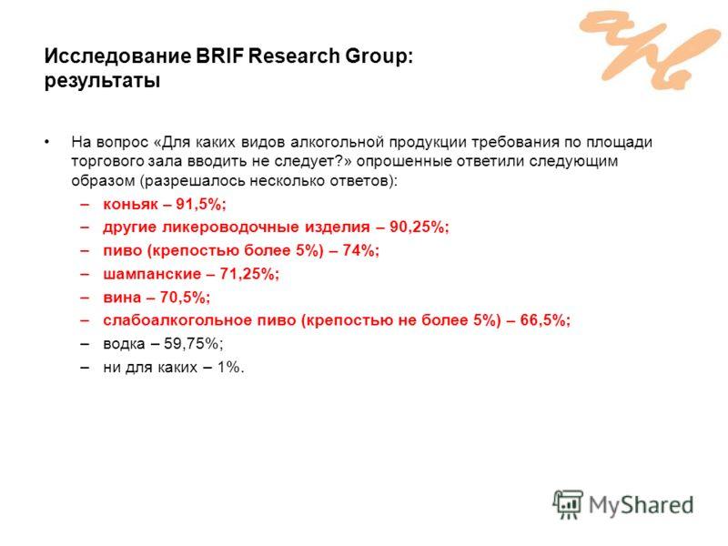 Исследование BRIF Research Group: результаты На вопрос «Для каких видов алкогольной продукции требования по площади торгового зала вводить не следует?» опрошенные ответили следующим образом (разрешалось несколько ответов): –коньяк – 91,5%; –другие ли