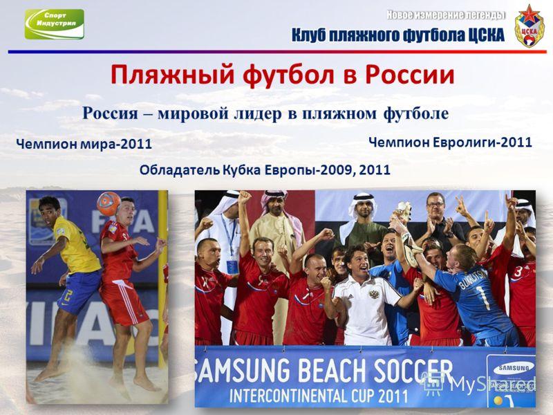 Пляжный футбол в России Россия – мировой лидер в пляжном футболе Чемпион мира-2011 Обладатель Кубка Европы-2009, 2011 Чемпион Евролиги-2011