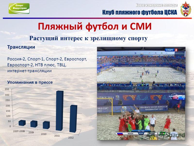 Пляжный футбол и СМИ Растущий интерес к зрелищному спорту Трансляции Россия-2, Спорт-1, Спорт-2, Евроспорт, Евроспорт-2, НТВ плюс, ТВЦ, интернет-трансляции Упоминания в прессе