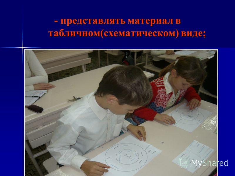 - представлять материал в табличном(схематическом) виде; - представлять материал в табличном(схематическом) виде;