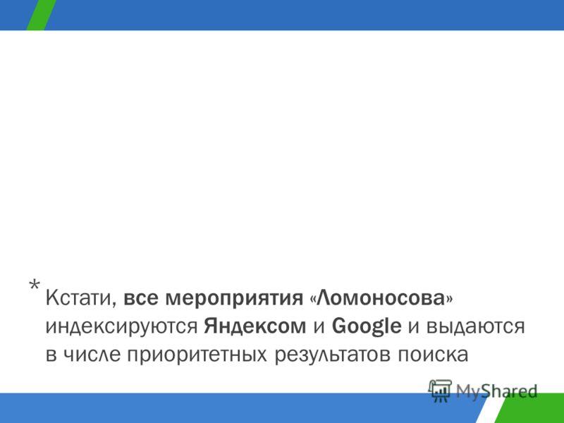 Кстати, все мероприятия «Ломоносова» индексируются Яндексом и Google и выдаются в числе приоритетных результатов поиска *