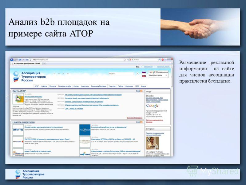 Анализ b2b площадок на примере сайта АТОР Размещение рекламной информации на сайте для членов ассоциации практически бесплатно.