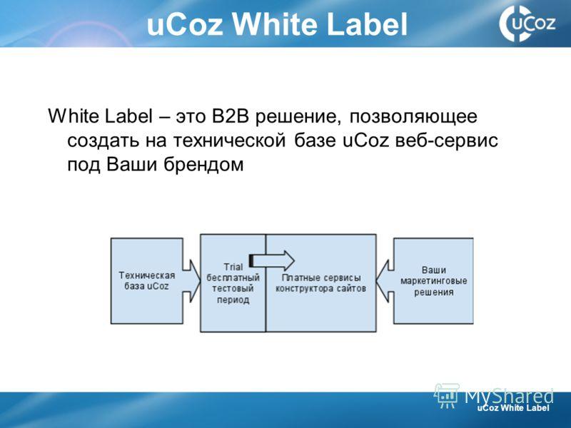 uCoz White Label White Label – это B2B решение, позволяющее создать на технической базе uCoz веб-сервис под Ваши брендом uCoz White Label