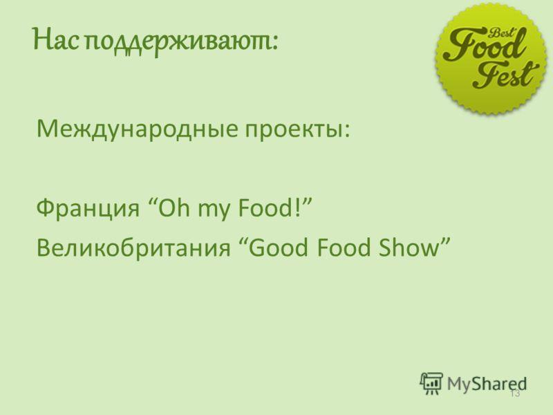 Нас поддерживают: Международные проекты: Франция Oh my Food! Великобритания Good Food Show 13