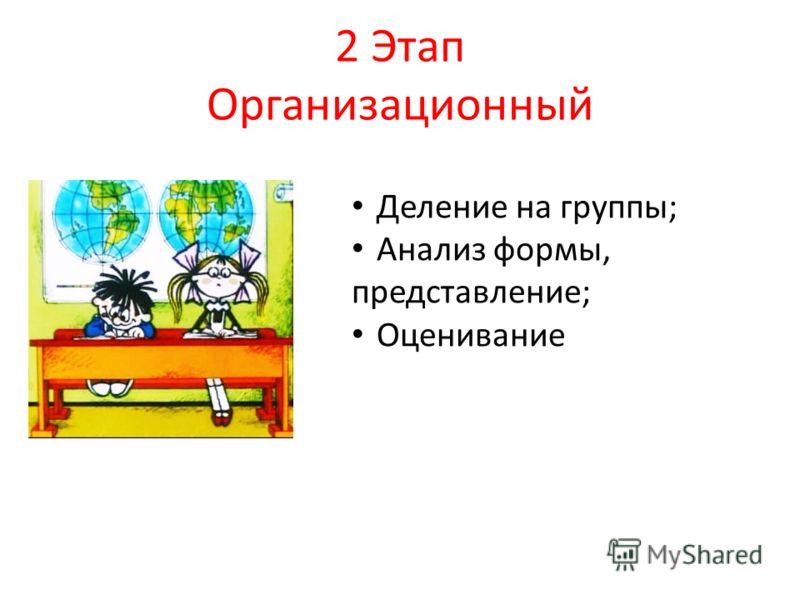 2 Этап Организационный Деление на группы; Анализ формы, представление; Оценивание