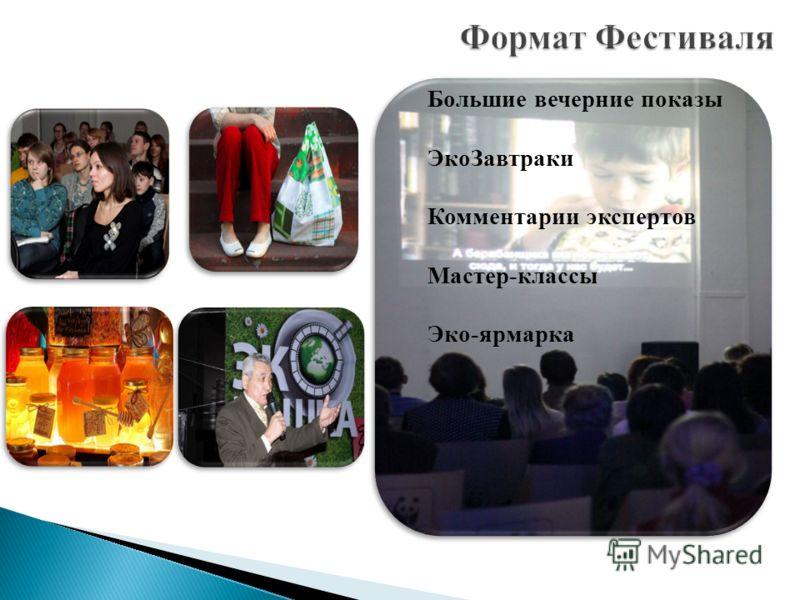 Большие вечерние показы Эко Завтраки Комментарии экспертов Мастер-классы Эко-ярмарка