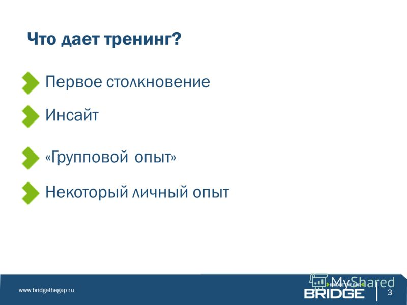 3 www.bridgethegap.ru 3 Что дает тренинг? Первое столкновение Инсайт «Групповой опыт» Некоторый личный опыт