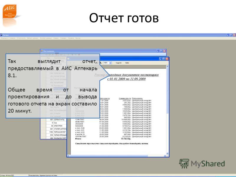 www.a-is.ru Отчет готов Так выглядит отчет, предоставляемый в АИС Аптекарь 8.1. Общее время от начала проектирования и до вывода готового отчета на экран составило 20 минут.