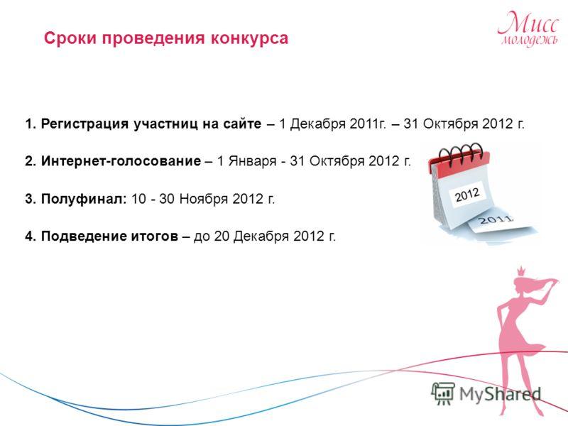 Сроки проведения конкурса 1. Регистрация участниц на сайте – 1 Декабря 2011 г. – 31 Октября 2012 г. 2. Интернет-голосование – 1 Января - 31 Октября 2012 г. 3. Полуфинал: 10 - 30 Ноября 2012 г. 4. Подведение итогов – до 20 Декабря 2012 г.