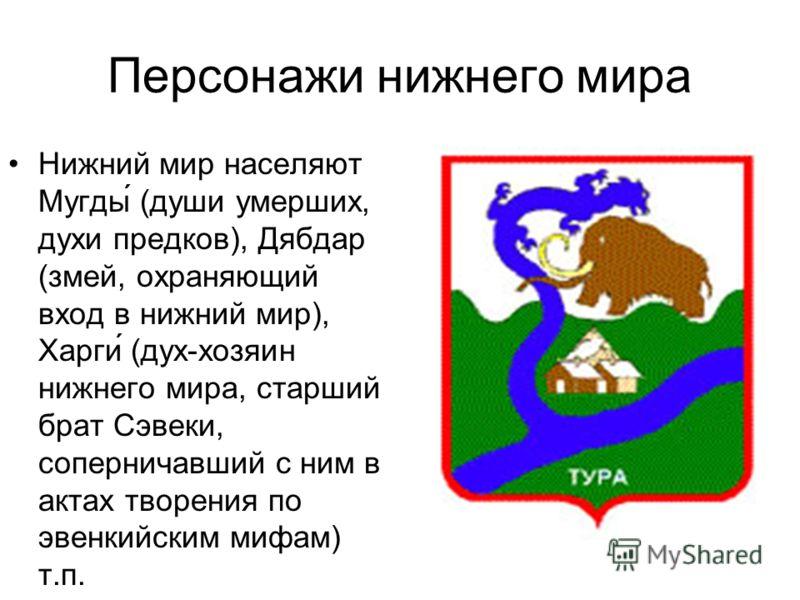 Персонажи среднего мира Средний мир представлен образами лягушки-Баха (охраняет спокойствие на средней земле), Дуннэ́ (дух-хозяйка земли, тайги) и др.