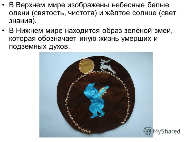 Образ танцующего эвенка (Средний земной мир) изображён в голубом цвете на фоне коричневого (единство небесного и земного начал).