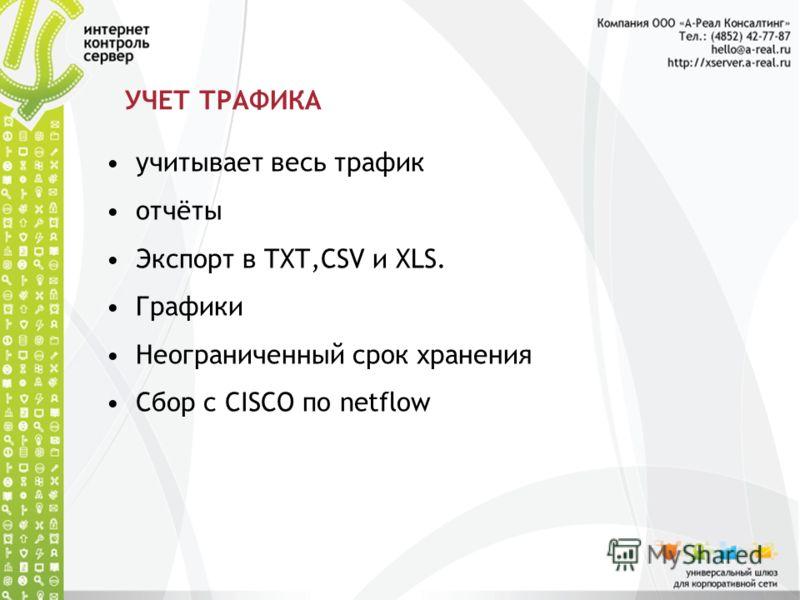 УЧЕТ ТРАФИКА учитывает весь трафик отчёты Экспорт в TXT,CSV и XLS. Графики Неограниченный срок хранения Сбор с CISCO по netflow