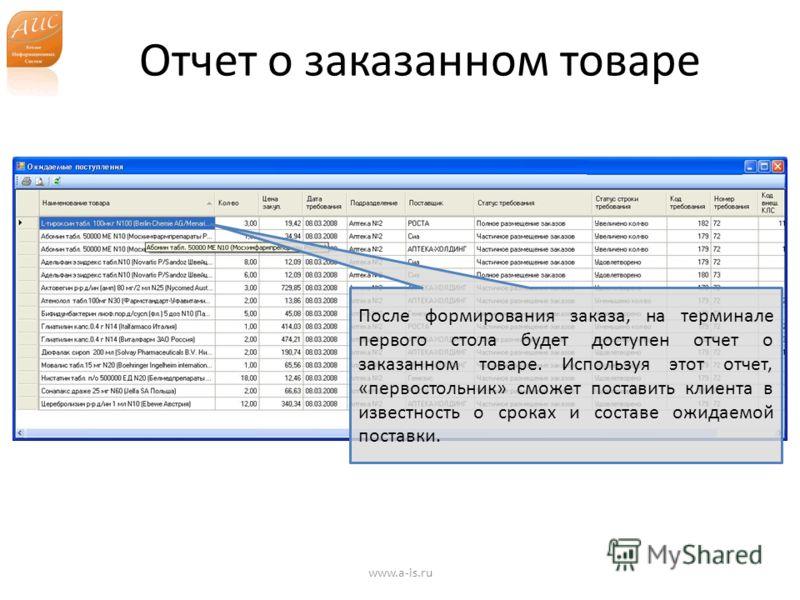 Отчет о заказанном товаре www.a-is.ru После формирования заказа, на терминале первого стола будет доступен отчет о заказанном товаре. Используя этот отчет, «первостольник» сможет поставить клиента в известность о сроках и составе ожидаемой поставки.