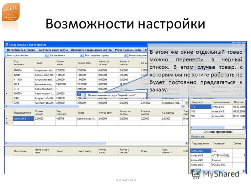 Возможности настройки www.a-is.ru В этом же окне отдельный товар можно перенести в черный список. В этом случае товар, с которым вы не хотите работать не будет постоянно предлагаться к заказу.