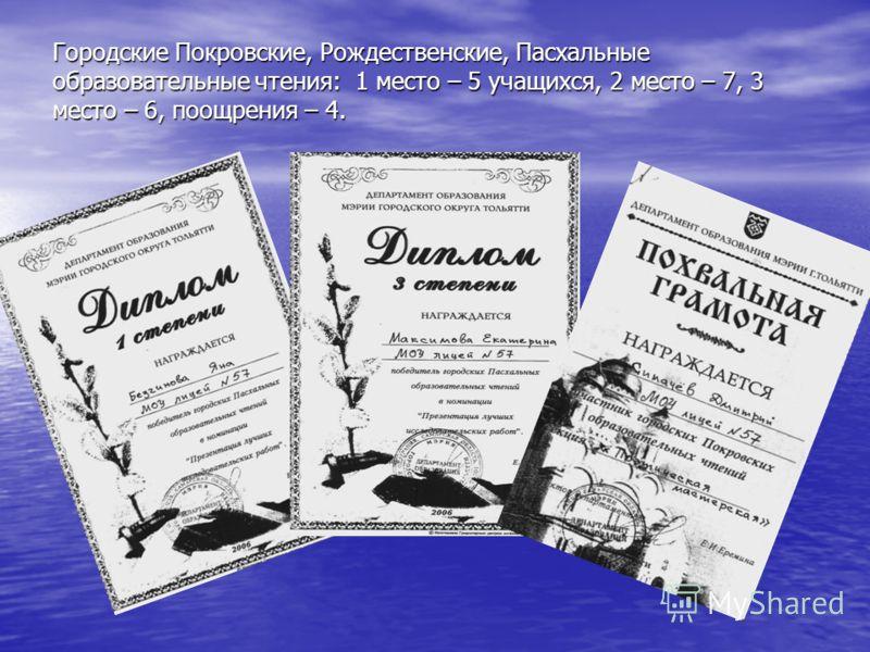 Городские Покровские, Рождественские, Пасхальные образовательные чтения: 1 место – 5 учащихся, 2 место – 7, 3 место – 6, поощрения – 4.
