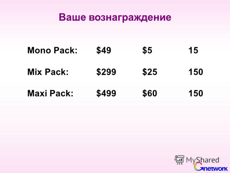 Ваше вознаграждение Mono Pack:$49$515 Mix Pack: $299$25150 Maxi Pack: $499$60150