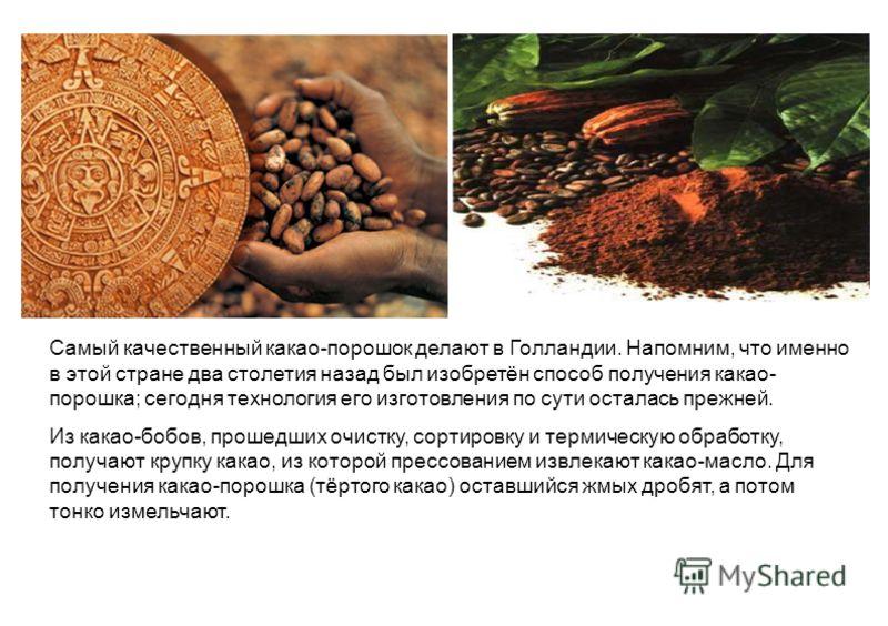 Самый качественный какао-порошок делают в Голландии. Напомним, что именно в этой стране два столетия назад был изобретён способ получения какао- порошка; сегодня технология его изготовления по сути осталась прежней. Из какао-бобов, прошедших очистку,