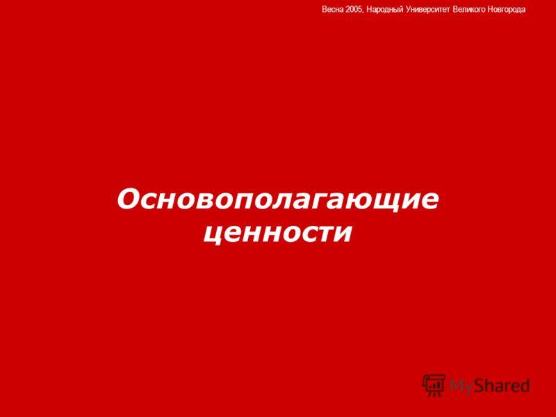 Основополагающие ценности Весна 2005, Народный Университет Великого Новгорода