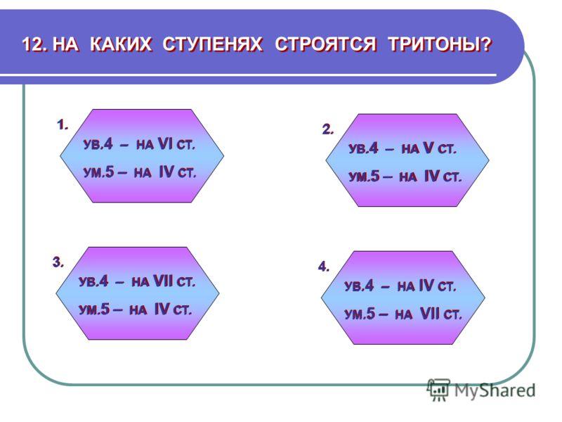 12. НА КАКИХ СТУПЕНЯХ СТРОЯТСЯ ТРИТОНЫ? УВ. 4 – НА VI СТ. УМ. 5 – НА IV СТ. УВ. 4 – НА VI СТ. УМ. 5 – НА IV СТ. УВ. 4 – НА IV СТ. УМ. 5 – НА VII СТ. УВ. 4 – НА IV СТ. УМ. 5 – НА VII СТ. УВ. 4 – НА VII СТ. УМ. 5 – НА IV СТ. УВ. 4 – НА VII СТ. УМ. 5 –