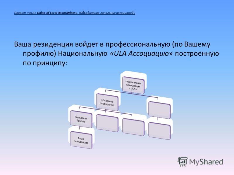 Проект «ULA» Union of Local Associations». (Объединение локальных ассоциаций). Ваша резиденция войдет в профессиональную (по Вашему профилю) Национальную «ULA Ассоциацию» построенную по принципу: