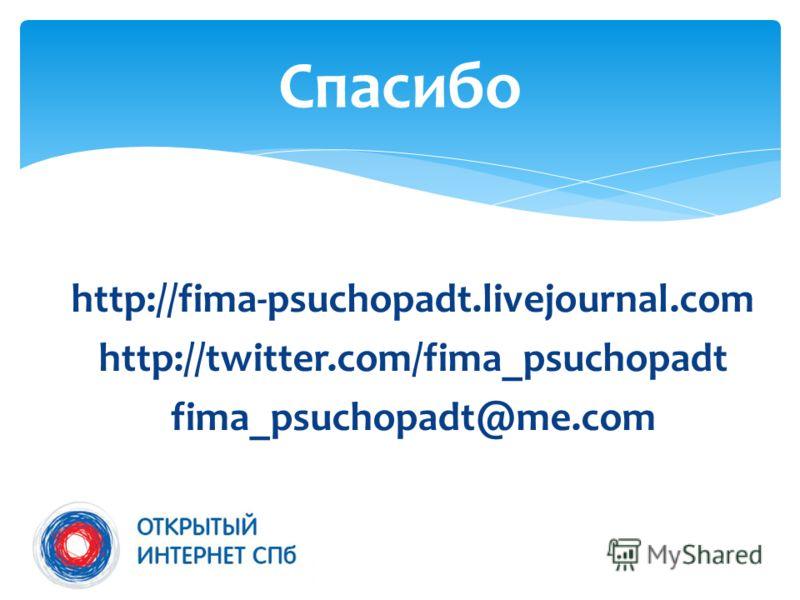 http://fima-psuchopadt.livejournal.com http://twitter.com/fima_psuchopadt fima_psuchopadt@me.com Спасибо