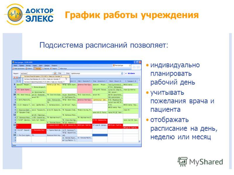 График работы учреждения индивидуально планировать рабочий день учитывать пожелания врача и пациента отображать расписание на день, неделю или месяц Подсистема расписаний позволяет:
