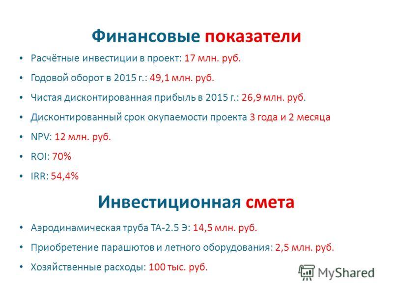 Финансовые показатели Расчётные инвестиции в проект: 17 млн. руб. Годовой оборот в 2015 г.: 49,1 млн. руб. Чистая дисконтированная прибыль в 2015 г.: 26,9 млн. руб. Дисконтированный срок окупаемости проекта 3 года и 2 месяца NPV: 12 млн. руб. ROI: 70