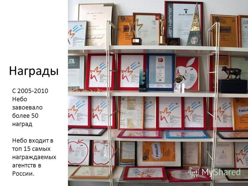 С 2005-2010 Небо завоевало более 50 наград Небо входит в топ 15 самых награждаемых агентств в России. Награды
