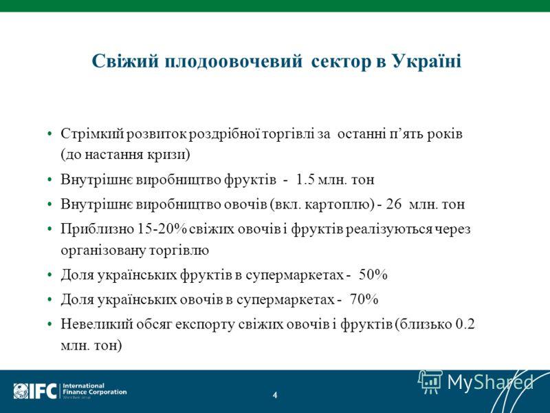 Свіжий плодоовочевий сектор в Україні Стрімкий розвиток роздрібної торгівлі за останні пять років (до настання кризи) Внутрішнє виробництво фруктів - 1.5 млн. тон Внутрішнє виробництво овочів (вкл. картоплю) - 26 млн. тон Приблизно 15-20% свіжих овоч