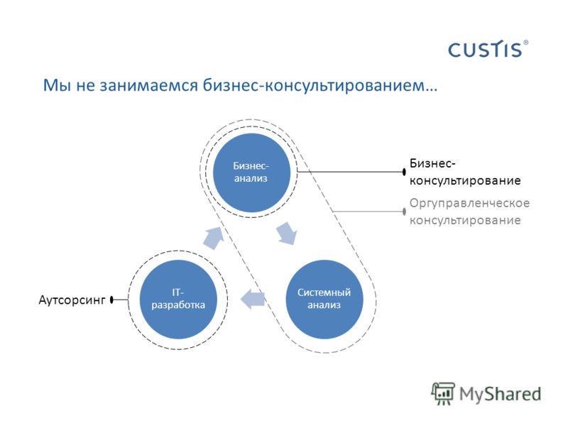 Мы не занимаемся бизнес-консультированием… Аутсорсинг Оргуправленческое консультирование Бизнес- консультирование