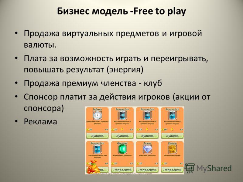 Бизнес модель -Free to play Продажа виртуальных предметов и игровой валюты. Плата за возможность играть и переигрывать, повышать результат (энергия) Продажа премиум членства - клуб Спонсор платит за действия игроков (акции от спонсора) Реклама Копира