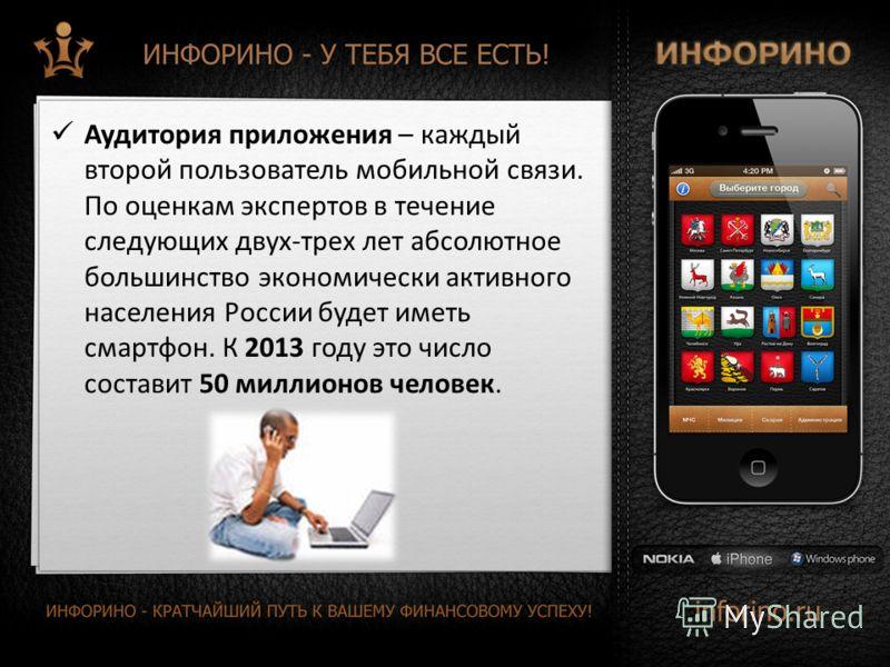 Аудитория приложения – каждый второй пользователь мобильной связи. По оценкам экспертов в течение следующих двух-трех лет абсолютное большинство экономически активного населения России будет иметь смартфон. К 2013 году это число составит 50 миллионов
