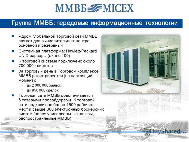 22 Группа ММВБ: передовые информационные технологии Ядром глобальной торговой сети ММВБ служат два вычислительных центра: основной и резервный Системная платформа: Hewlett-Packard UNIX-серверы (около 100) К торговой системе подключено около 700 000 к