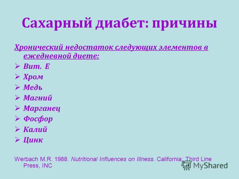 Сахарный диабет: причины Хронический недостаток следующих элементов в ежедневной диете: Вит. E Хром Медь Магний Марганец Фосфор Калий Цинк Werbach M.R. 1988. Nutritional Influences on Illness. California: Third Line Press, INC