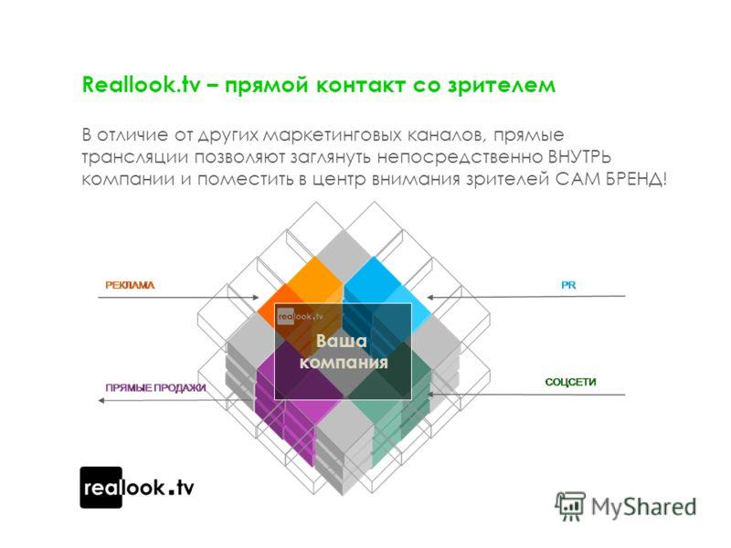 Reallook.tv – прямой контакт со зрителем В отличие от других маркетинговых каналов, прямые трансляции позволяют заглянуть непосредственно ВНУТРЬ компании и поместить в центр внимания зрителей САМ БРЕНД! Ваша компания