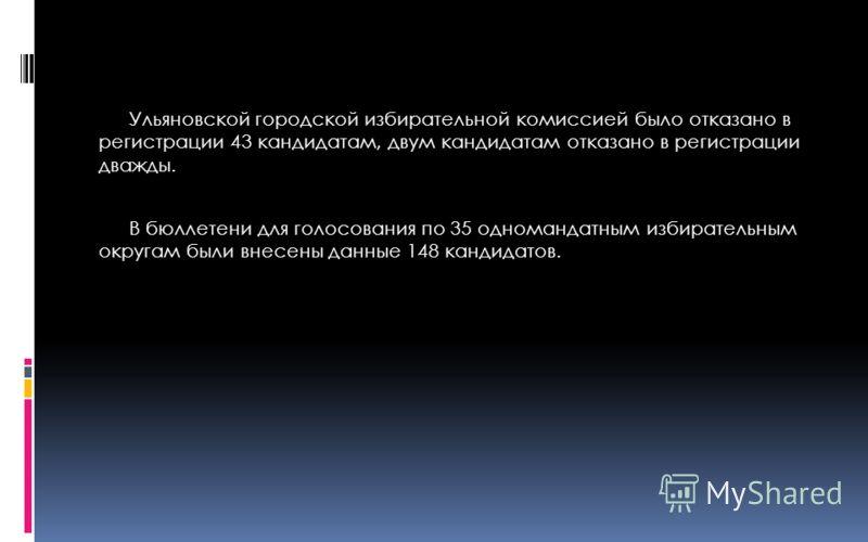 Ульяновской городской избирательной комиссией было отказано в регистрации 43 кандидатам, двум кандидатам отказано в регистрации дважды. В бюллетени для голосования по 35 одномандатным избирательным округам были внесены данные 148 кандидатов.